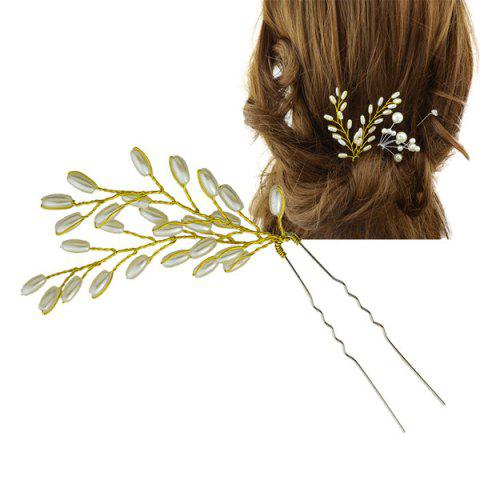 Faux Pearl Wheatear Hair Stick - GOLDEN
