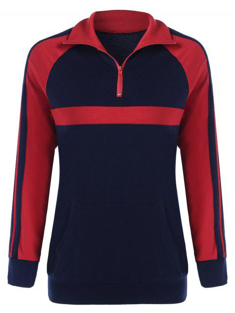 Kangaroo Pocket Zip Collar Sweatshirt - BLUE/RED XL