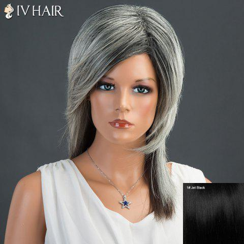 Fluffy Long Side Parting Straight Siv Human Hair Wig - JET BLACK 01