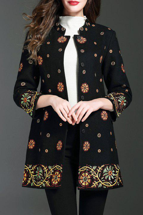 Wool Blend Snowflake Embroidered Coat - BLACK S