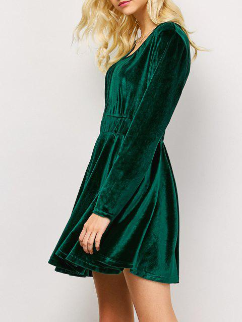Velvet Long Sleeve Mini Dress - GREEN XS