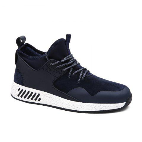 PU Leather Stretch Fabric Athletic Shoes - DEEP BLUE 44
