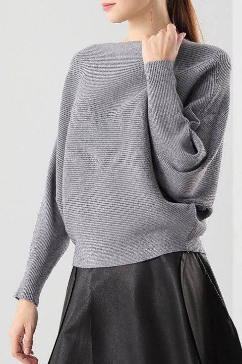 d5f0f44031f 41% OFF  2019 Ribbed Batwing Sleeve Boat Neck Sweater In GRAY ONE ...