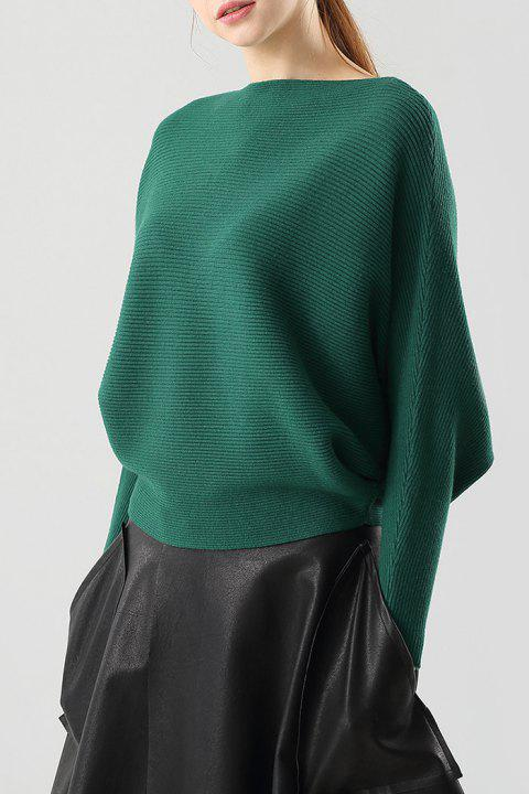 336f3b6fab8 17% OFF  2019 Ribbed Batwing Sleeve Boat Neck Sweater In DEEP GREEN ...
