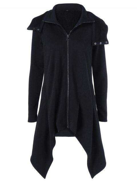 Zipper Up Asymmetrical Hooded Coat - BLACK XL