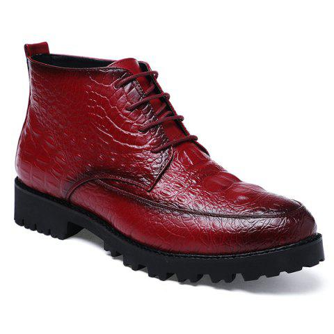 Lace Up Embossing PU Leather Boots - RED 41