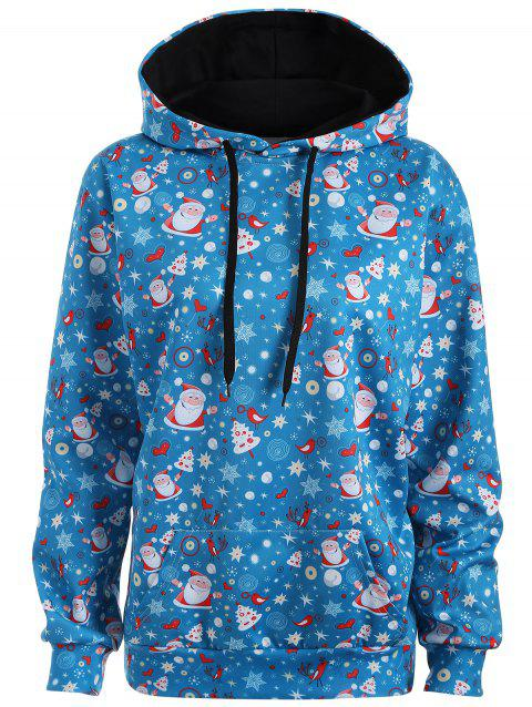 Plus Size Santa Claus Kangaroo Pocket Patterned Hoodies - LAKE BLUE L