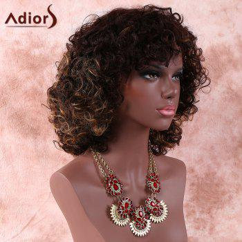 Women's Brown Medium Side Bang Afro Curly Prevailing Synthetic Hair Wig -  BROWN