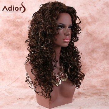 Women's Deep Brown Long Curly Stylish Synthetic Hair Wig - DEEP BROWN