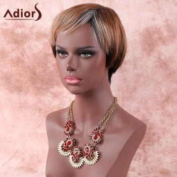 Women's Fashion Adiors Mixed Color Short Fluffy Full Bang Synthetic Hair Wig -  COLORMIX