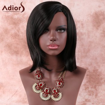 Women's Medium Side Parting Layered Straight Dark Brown Faddish Adiors Synthetic Hair Wig