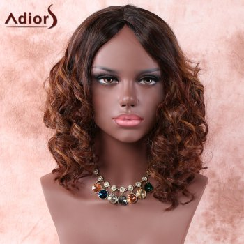 Side Parting Medium Ombre Curly Synthetic Wig