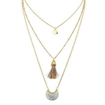 Tassel Faux Turquoise Moon Layered Necklace