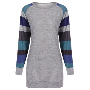 Color Block Stripe Raglan Sleeve Tee