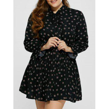 Plus Size Printed Pussy Bow Dress