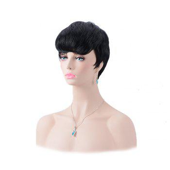 Boy Cut Heat Resistant Fiber Ultrashort Oblique Bang Straight Wig - BLACK