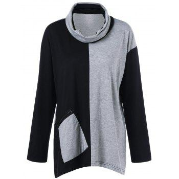 Plus Size Cowl Neck Zip Pocket T-Shirt