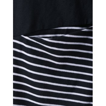 T-shirt grande taille pan superposition rayée - Rayure XL