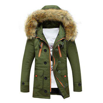 Multi-Pocket Faux Fur Hooded Zip Up Padded Coat - ARMY GREEN M