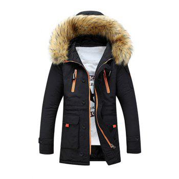 Multi-Pocket Faux Fur Hooded Zip Up Padded Coat