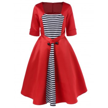 Midi Vintage Dress With Striped