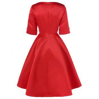 Robe midi vintage à rayures - Rouge XL