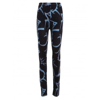 Plus Size Elastic Waist Patterned Printed Leggings