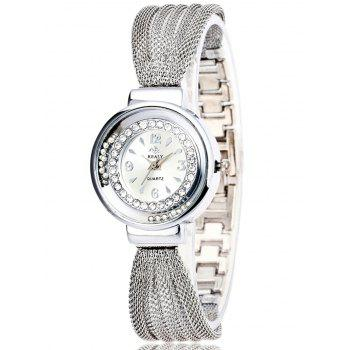 Rhinestone Beads Bracelet Stainless Steel Watch