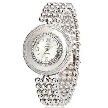 Big Dial Plate Beads Bracelet Watch