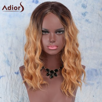 Trendy Synthetic Women's Medium Curly Gold Blend Centre Parting Wig