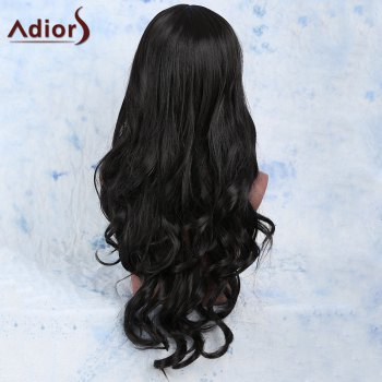 Faddish Synthetic Women\'s Long Wavy Black Centre Parting Wig - BLACK