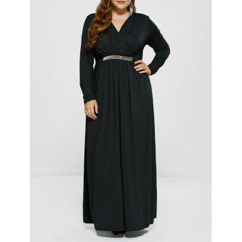 Long Sleeve Plus Size Metal Embellished Modest Formal Surplice Dress