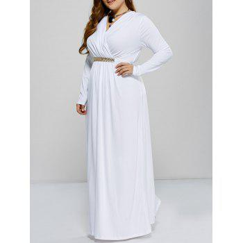 Plus Size Long Sleeve Surplice Prom Dress
