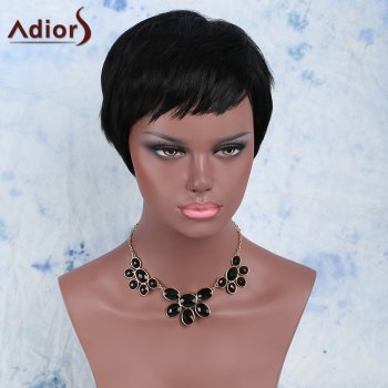 Women's Manly Black Ultrashort Synthetic Hair Wig