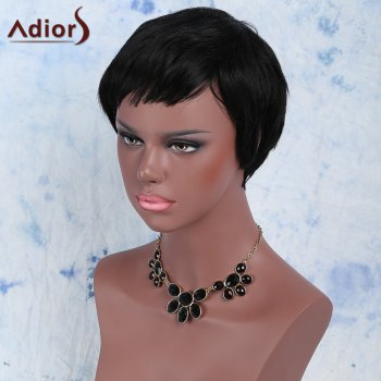 Women's Manly Black Ultrashort Synthetic Hair Wig - BLACK