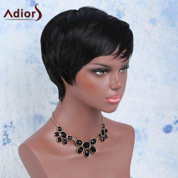 Manly Women's Boy Cut Black Short Capless Straight Side Bang Synthetic Wig - BLACK