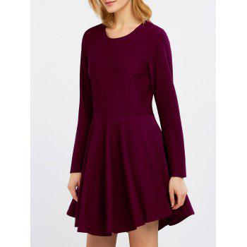 Zipper Pleated Swing Dress