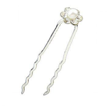 Faux Pearl Floral Alloy Hairpin