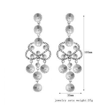 Hollowed Rhinestone Chandelier Earrings - SILVER