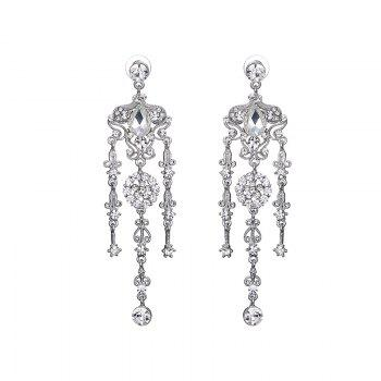 Rhinestone Teardrop Flower Chandelier Earrings