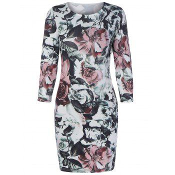 Floral Bodycon Mini Dress With Sleeves