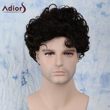 Buy Fluffy Short Side Bang Curly Synthetic Capless Wig BLACK BROWN