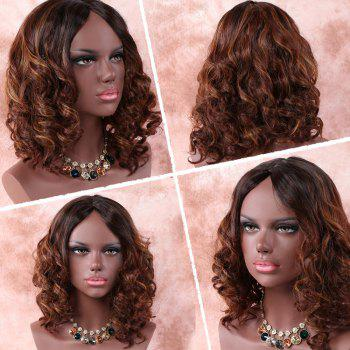 Medium Asymmetric Brown Mixed Curly Middle Part Synthetic Wig