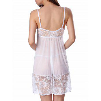Sheer Floral Lace Panel Mesh Babydoll Sleepwear - WHITE L