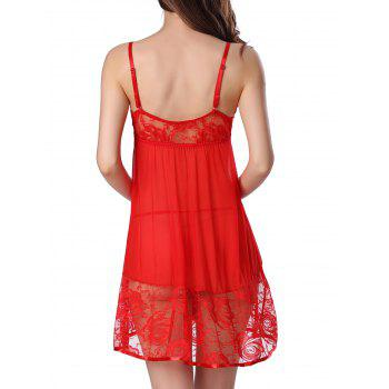 Sheer Floral Lace Panel Mesh Babydoll Sleepwear - RED XL