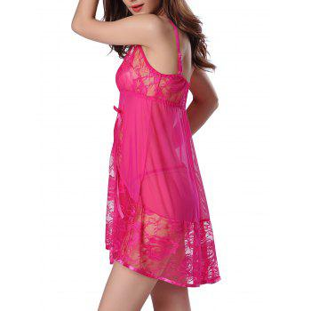 Sheer Floral Lace Panel Mesh Babydoll Sleepwear - HOT PINK L