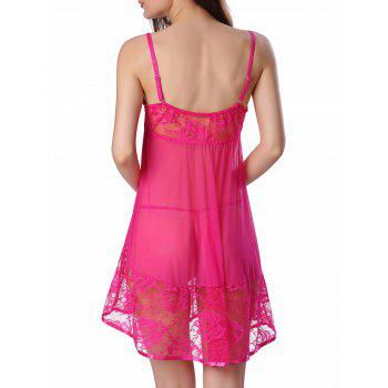 Sheer Floral Lace Panel Mesh Babydoll Sleepwear - HOT PINK S