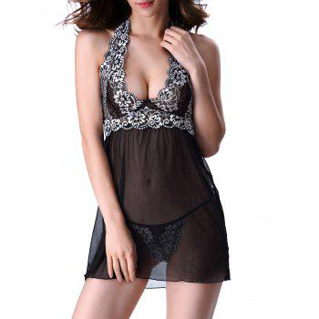 Lace Panel Backless Halter Babydoll