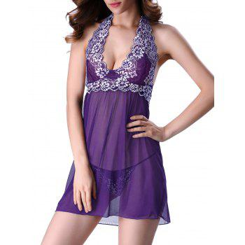Transparent Lace Panel Backless Halter Babydoll Sleepwear - PURPLE 2XL