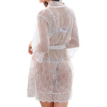 Sheer Lace Belt Three Piece Babydoll - WHITE L